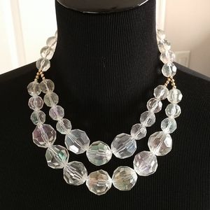 Large Clear Bead 2-Strand Necklace